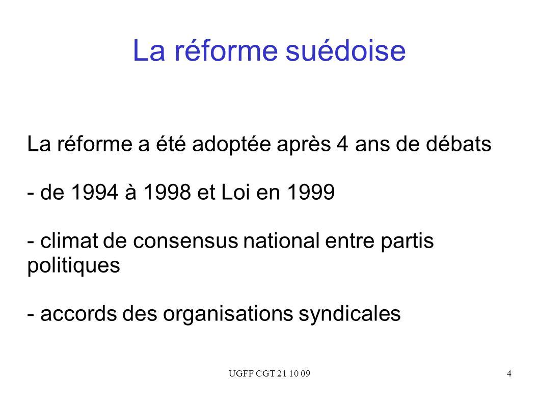 UGFF CGT 21 10 094 La réforme suédoise La réforme a été adoptée après 4 ans de débats - de 1994 à 1998 et Loi en 1999 - climat de consensus national e