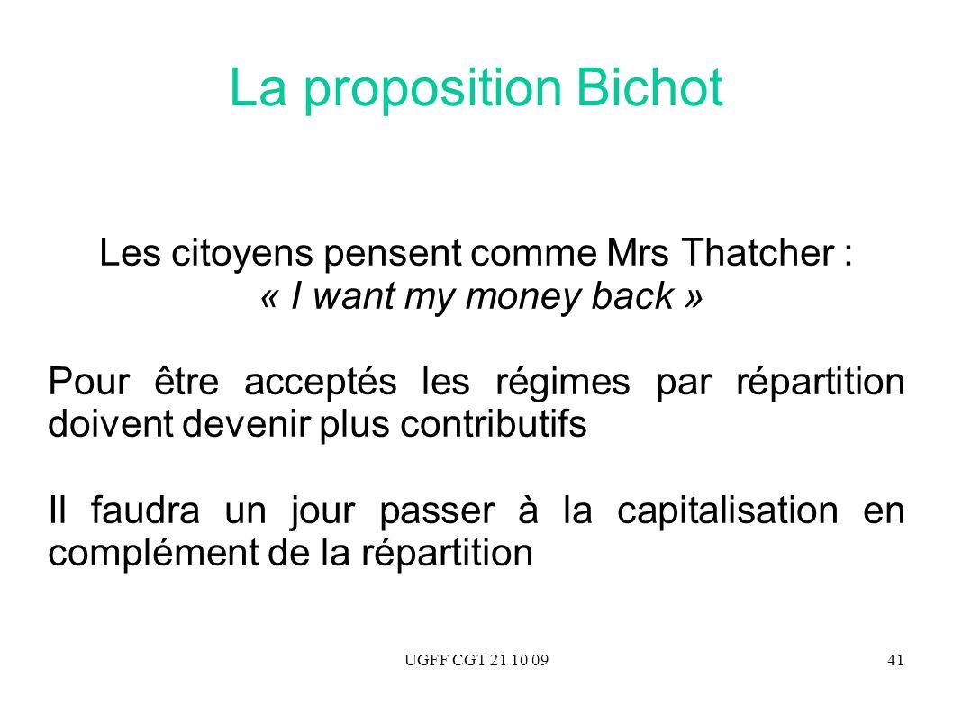UGFF CGT 21 10 0941 La proposition Bichot Les citoyens pensent comme Mrs Thatcher : « I want my money back » Pour être acceptés les régimes par répart