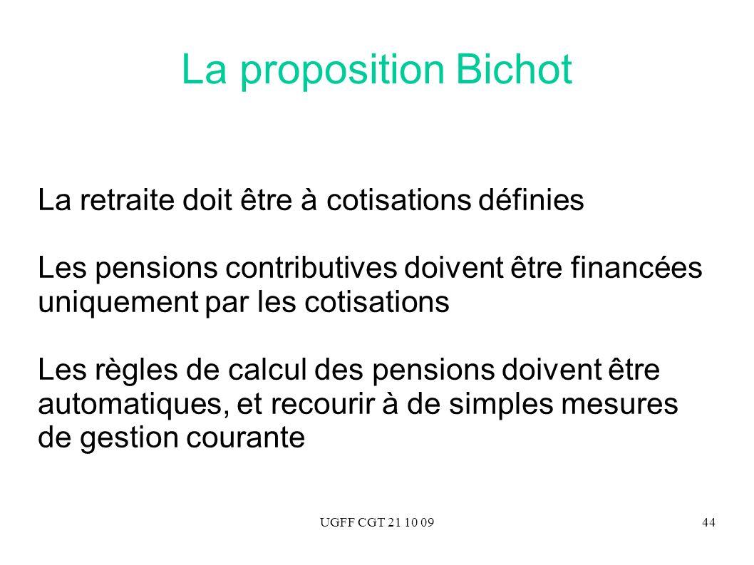 UGFF CGT 21 10 0944 La proposition Bichot La retraite doit être à cotisations définies Les pensions contributives doivent être financées uniquement pa