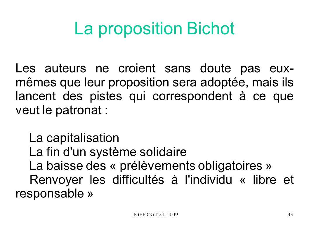 UGFF CGT 21 10 0949 La proposition Bichot Les auteurs ne croient sans doute pas eux- mêmes que leur proposition sera adoptée, mais ils lancent des pis