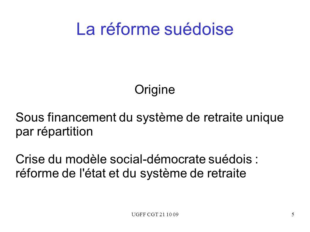 UGFF CGT 21 10 095 La réforme suédoise Origine Sous financement du système de retraite unique par répartition Crise du modèle social-démocrate suédois