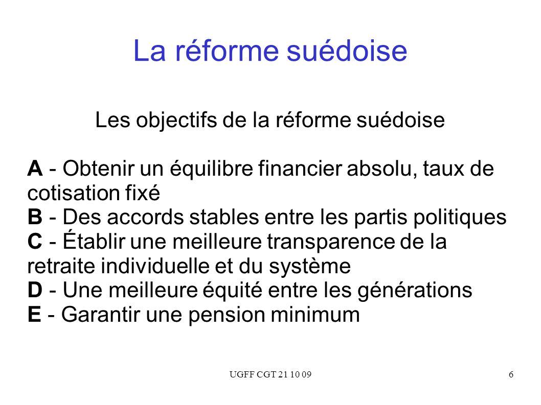 UGFF CGT 21 10 096 La réforme suédoise Les objectifs de la réforme suédoise A - Obtenir un équilibre financier absolu, taux de cotisation fixé B - Des