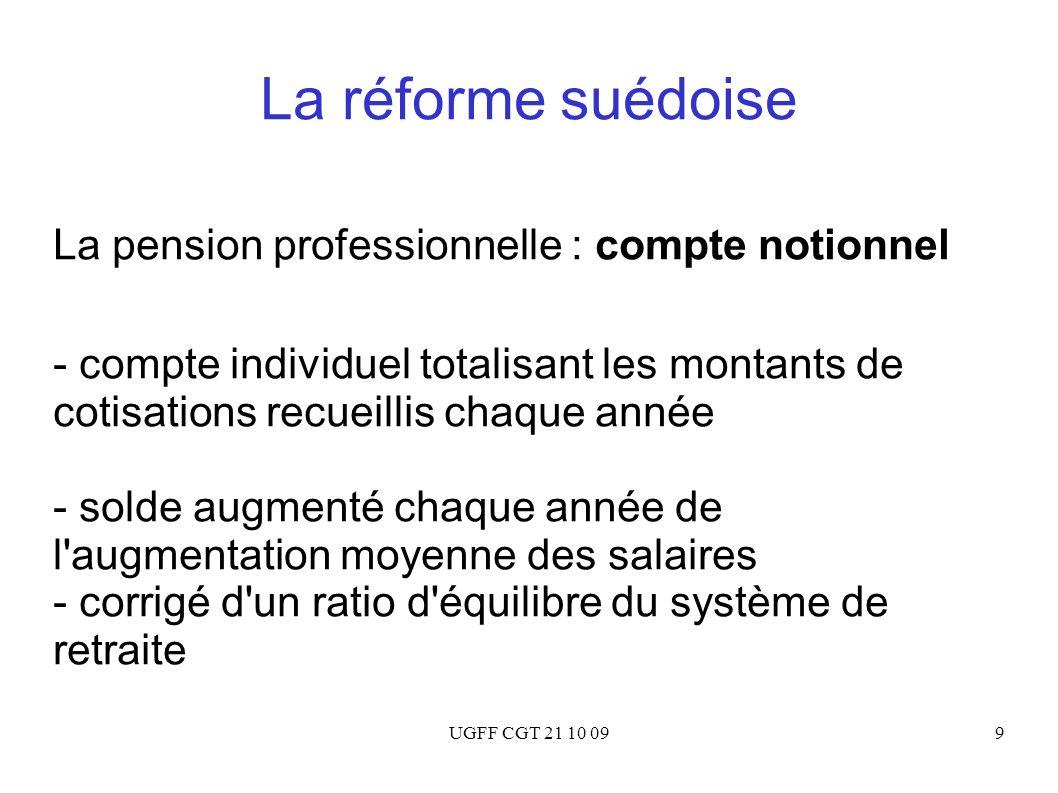 UGFF CGT 21 10 0940 La proposition Bichot Pour Bichot, les réformes paramétriques de 1993 à 2007 : - n ont pas résolu la question du financement - Elles ont introduit de la complexité - Elles ont rendu le pilotage du système des retraites impossible Il faut donc passer à une réforme systémique !