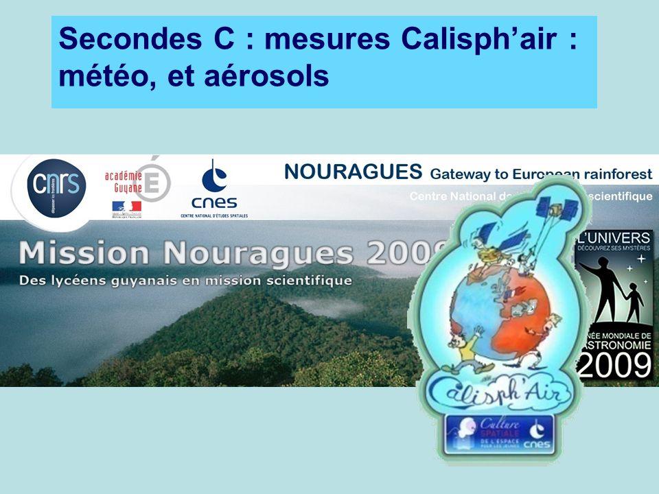 Secondes C : mesures Calisphair : météo, et aérosols