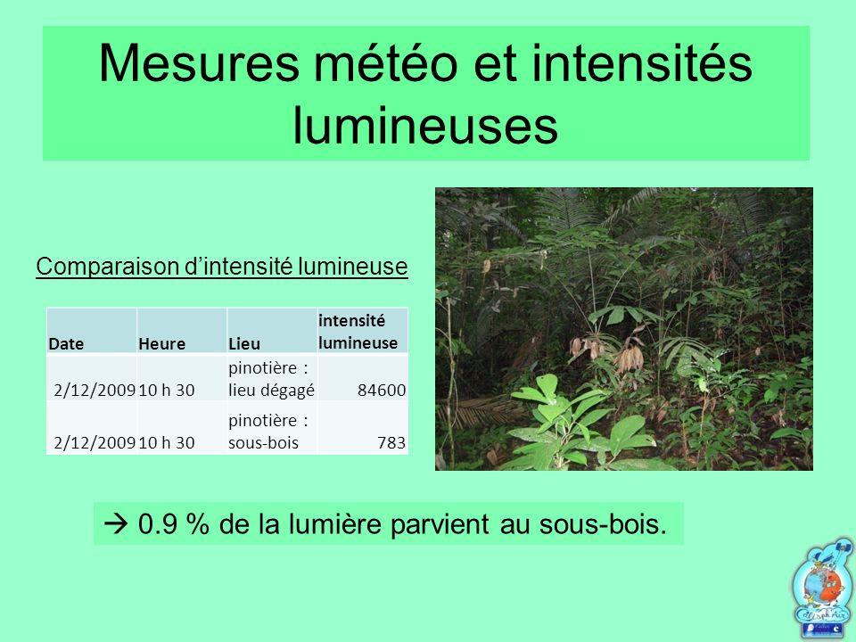 Mesures météo et intensités lumineuses DateHeureLieu intensité lumineuse 2/12/200910 h 30 pinotière : lieu dégagé84600 2/12/200910 h 30 pinotière : sous-bois783 0.9 % de la lumière parvient au sous-bois.