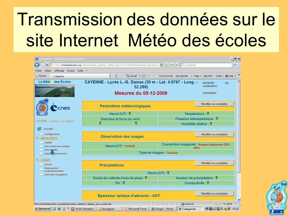 Transmission des données sur le site Internet Météo des écoles