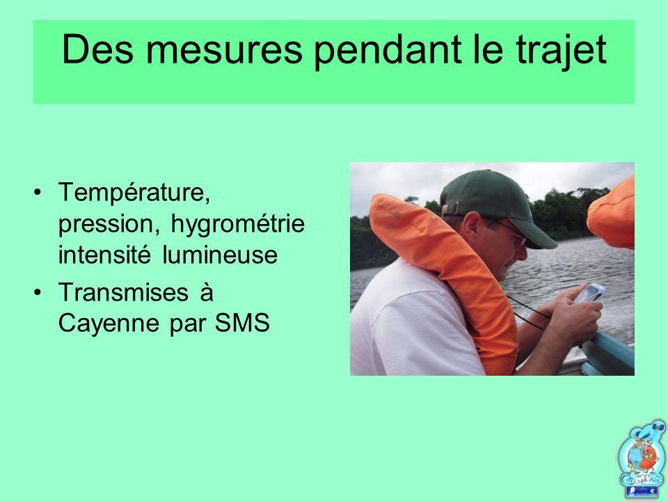 Des mesures pendant le trajet Température, pression, hygrométrie intensité lumineuse Transmises à Cayenne par SMS