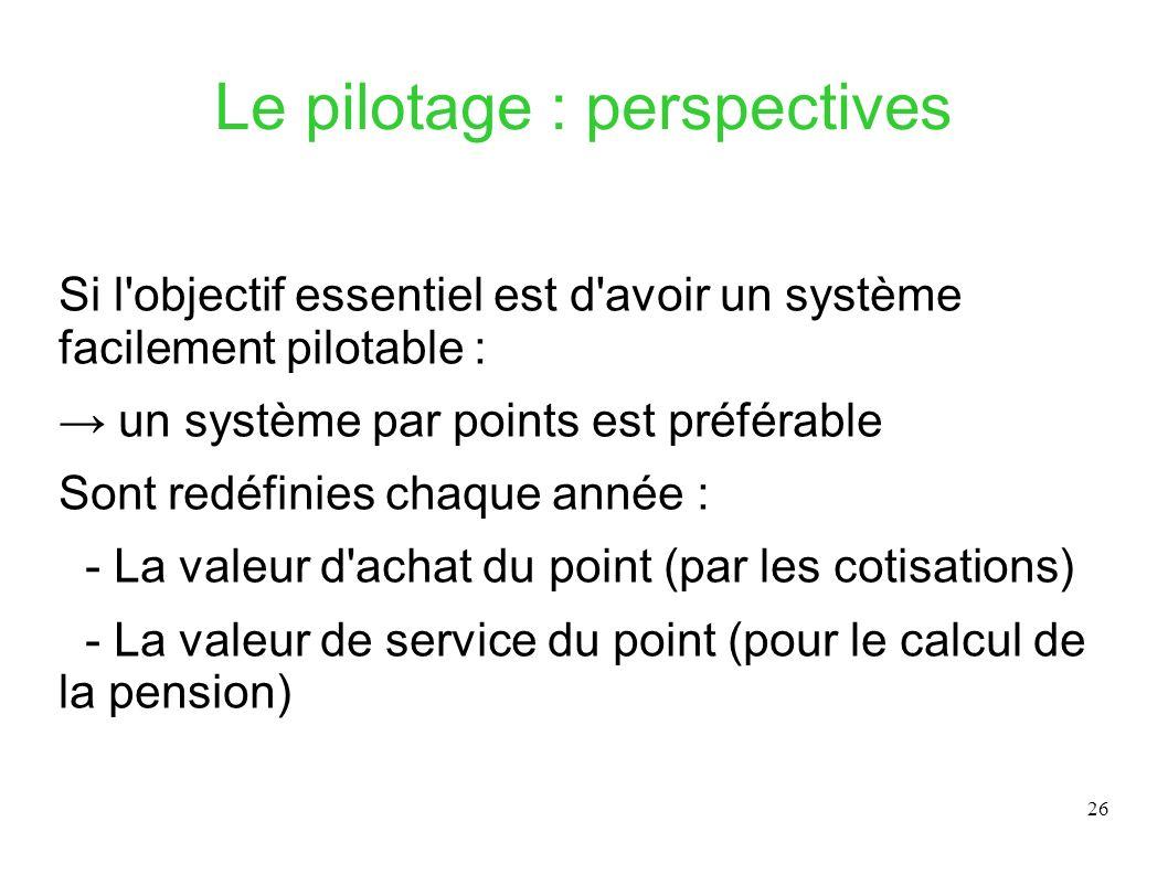 26 Le pilotage : perspectives Si l'objectif essentiel est d'avoir un système facilement pilotable : un système par points est préférable Sont redéfini