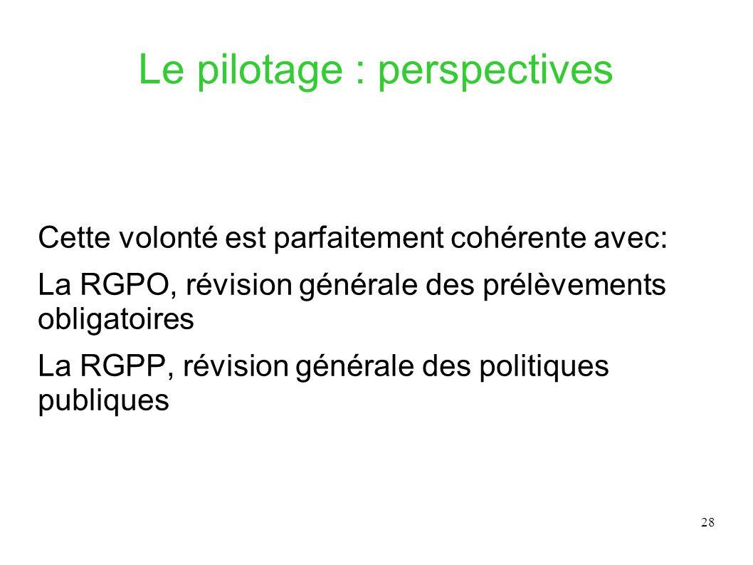 28 Le pilotage : perspectives Cette volonté est parfaitement cohérente avec: La RGPO, révision générale des prélèvements obligatoires La RGPP, révisio