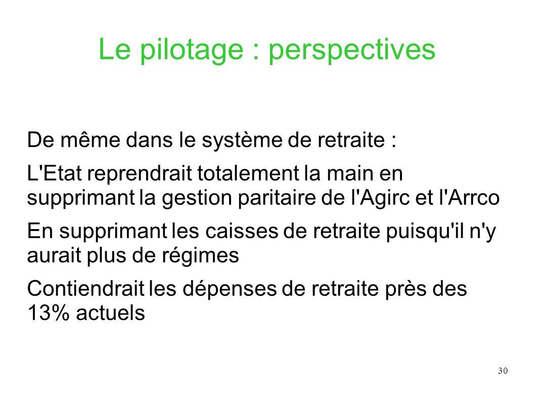30 Le pilotage : perspectives De même dans le système de retraite : L'Etat reprendrait totalement la main en supprimant la gestion paritaire de l'Agir