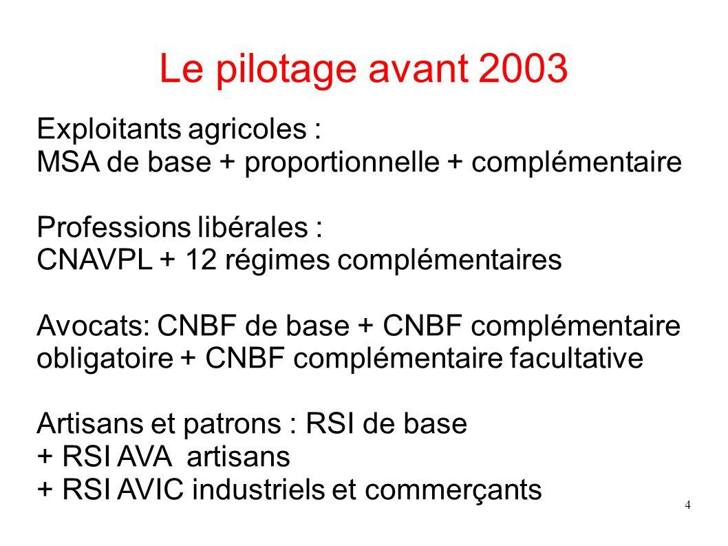 4 Le pilotage avant 2003 Exploitants agricoles : MSA de base + proportionnelle + complémentaire Professions libérales : CNAVPL + 12 régimes complément