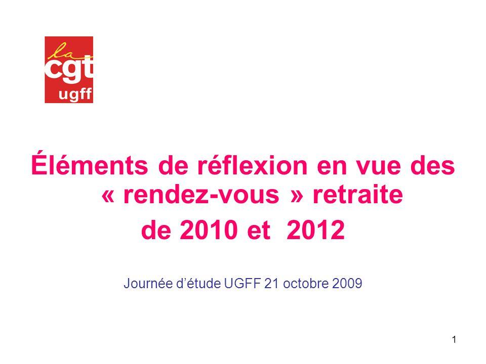 1 Éléments de réflexion en vue des « rendez-vous » retraite de 2010 et 2012 Journée détude UGFF 21 octobre 2009