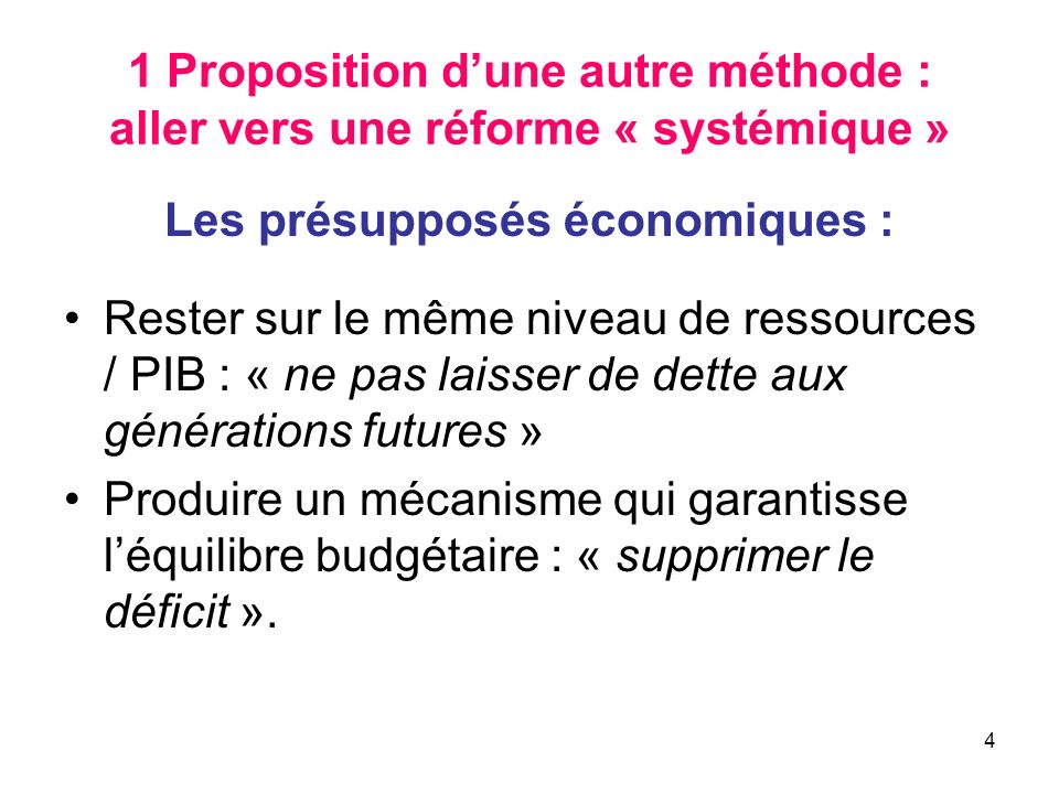 4 1 Proposition dune autre méthode : aller vers une réforme « systémique » Les présupposés économiques : Rester sur le même niveau de ressources / PIB : « ne pas laisser de dette aux générations futures » Produire un mécanisme qui garantisse léquilibre budgétaire : « supprimer le déficit ».