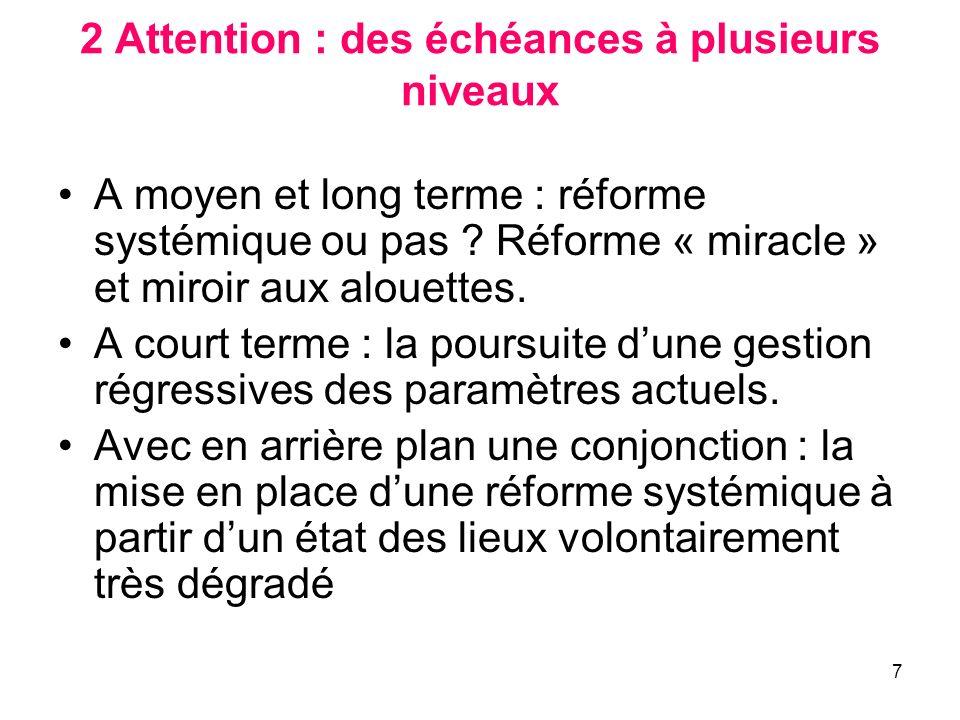 7 2 Attention : des échéances à plusieurs niveaux A moyen et long terme : réforme systémique ou pas ? Réforme « miracle » et miroir aux alouettes. A c