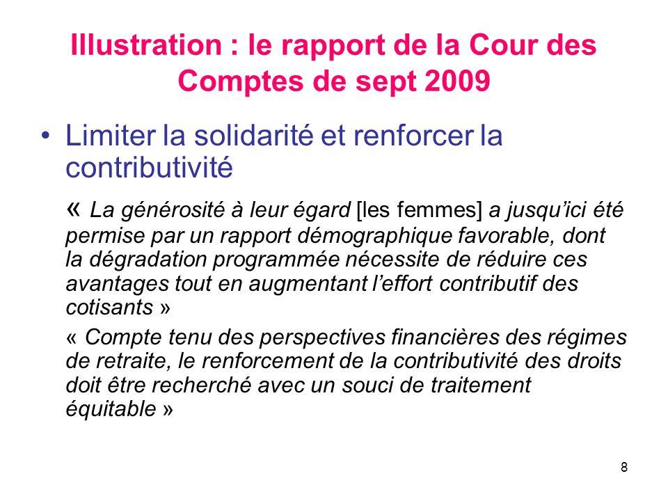 8 Illustration : le rapport de la Cour des Comptes de sept 2009 Limiter la solidarité et renforcer la contributivité « La générosité à leur égard [les