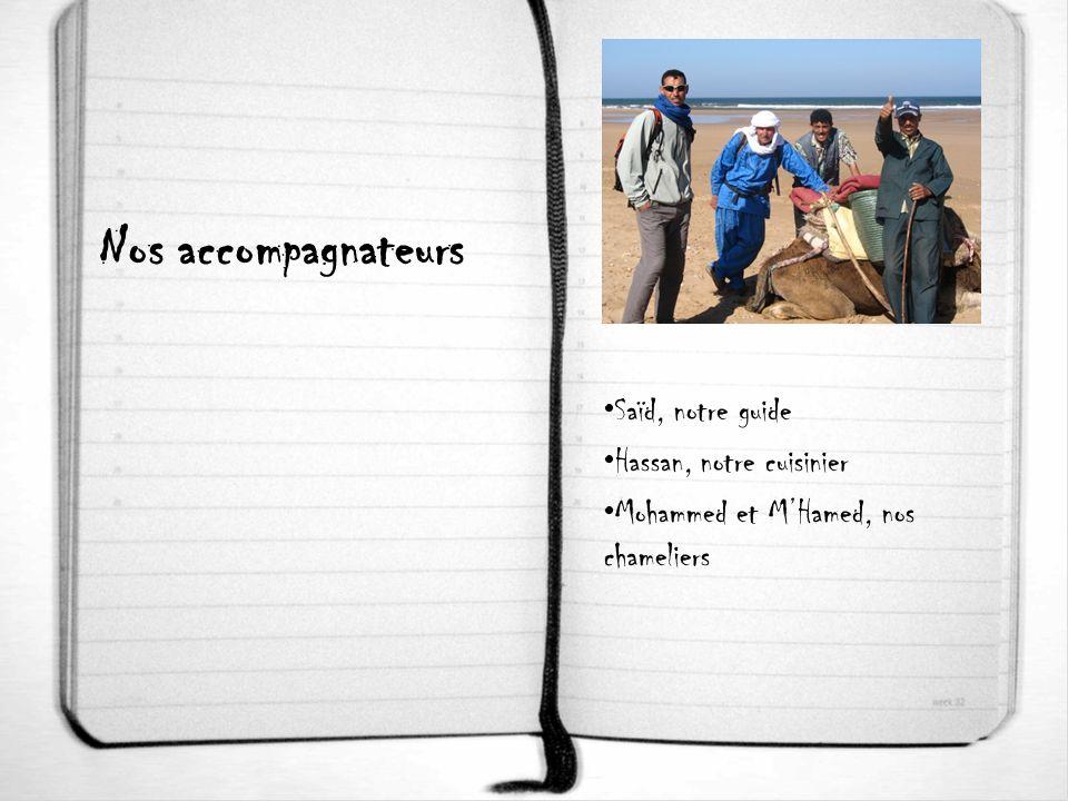 Nos accompagnateurs Saïd, notre guide Hassan, notre cuisinier Mohammed et MHamed, nos chameliers