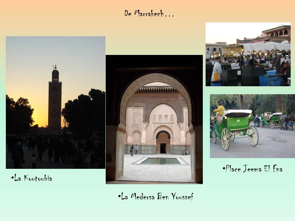 De Marrakech… Place Jeema El Fna La Koutoubia La Medersa Ben Youssef