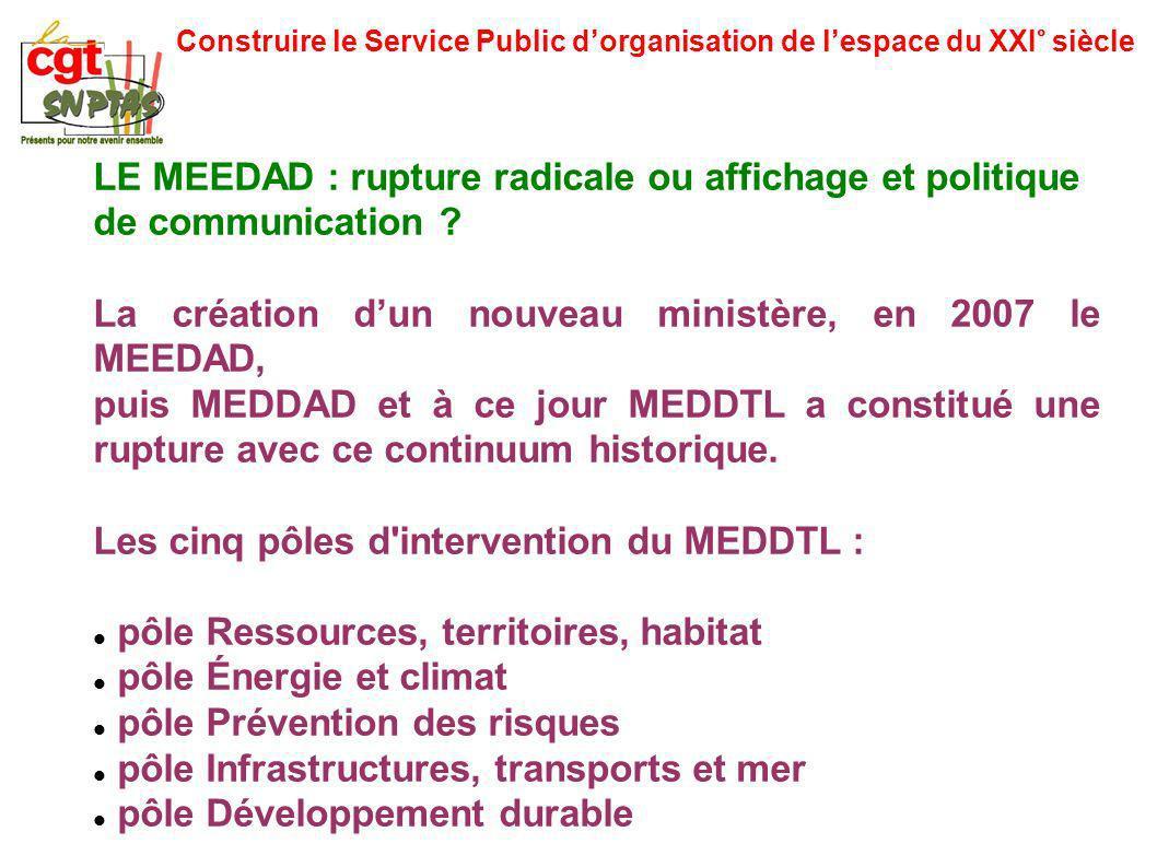 Construire le Service Public dorganisation de lespace du XXI° siècle LE MEEDAD : rupture radicale ou affichage et politique de communication ? La créa
