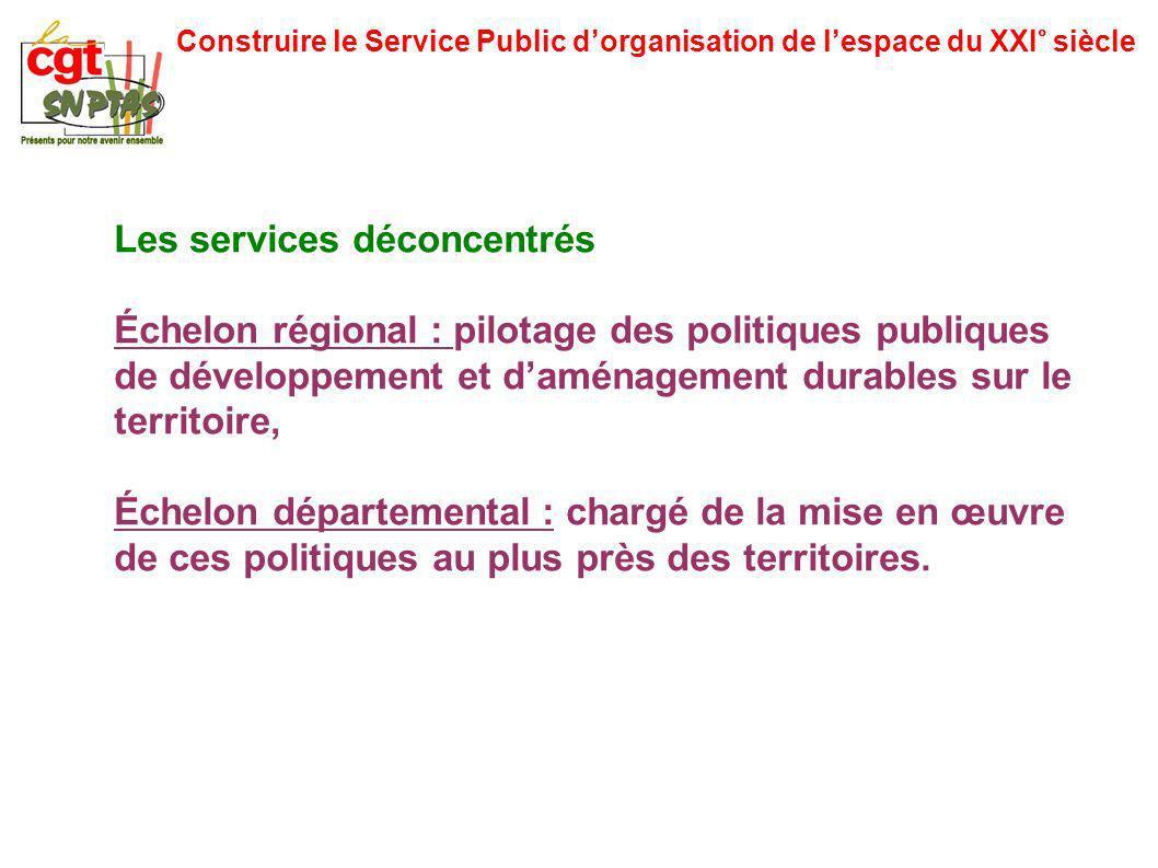 Construire le Service Public dorganisation de lespace du XXI° siècle Les services déconcentrés Échelon régional : pilotage des politiques publiques de
