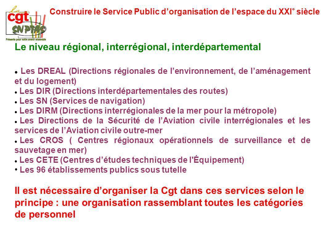 Construire le Service Public dorganisation de lespace du XXI° siècle Le niveau régional, interrégional, interdépartemental Les DREAL (Directions régio