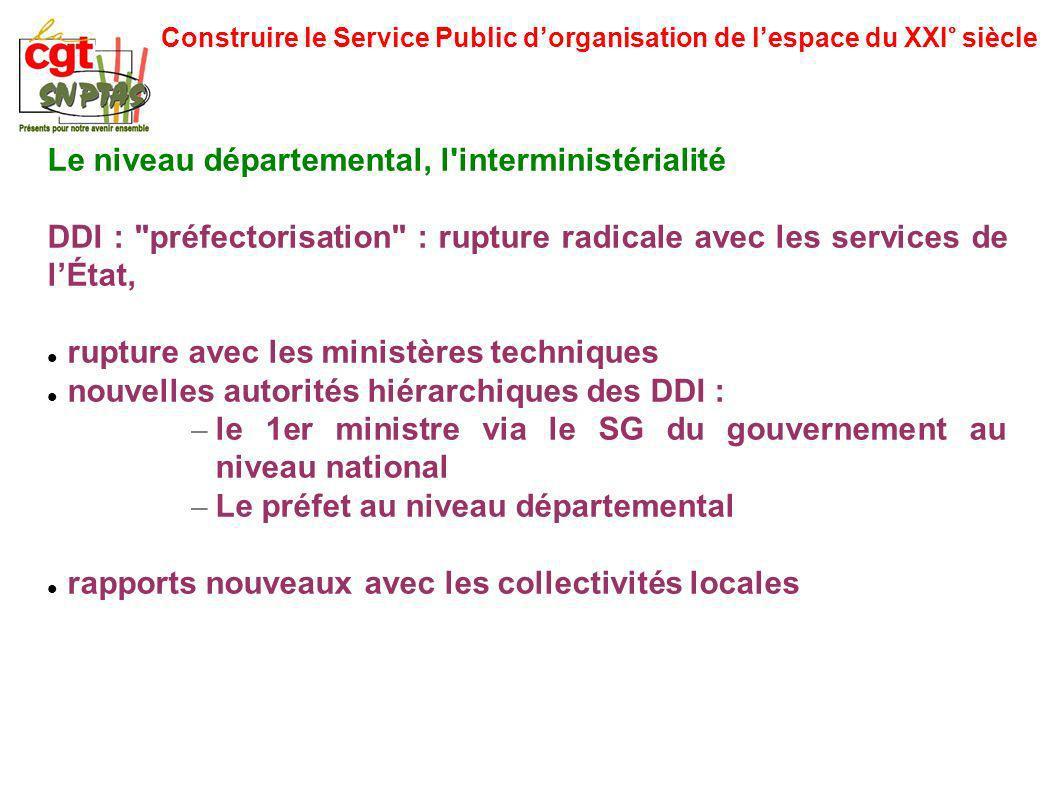 Construire le Service Public dorganisation de lespace du XXI° siècle Le niveau départemental, l'interministérialité DDI :