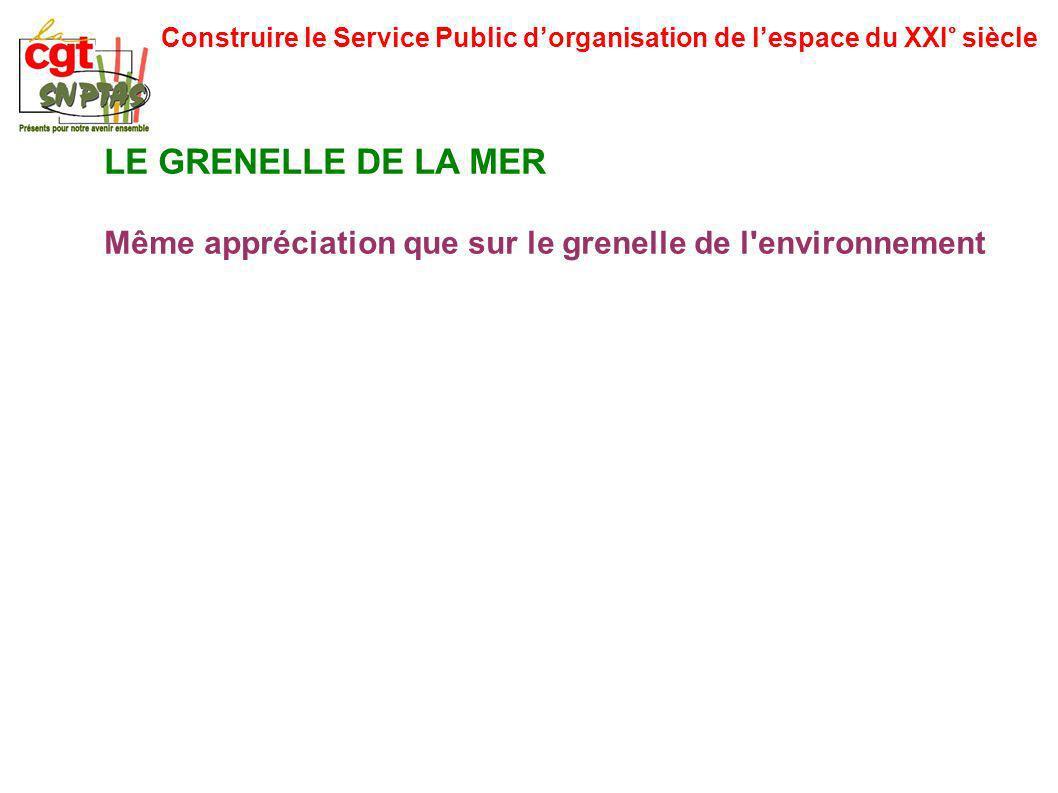 Construire le Service Public dorganisation de lespace du XXI° siècle LE GRENELLE DE LA MER Même appréciation que sur le grenelle de l environnement