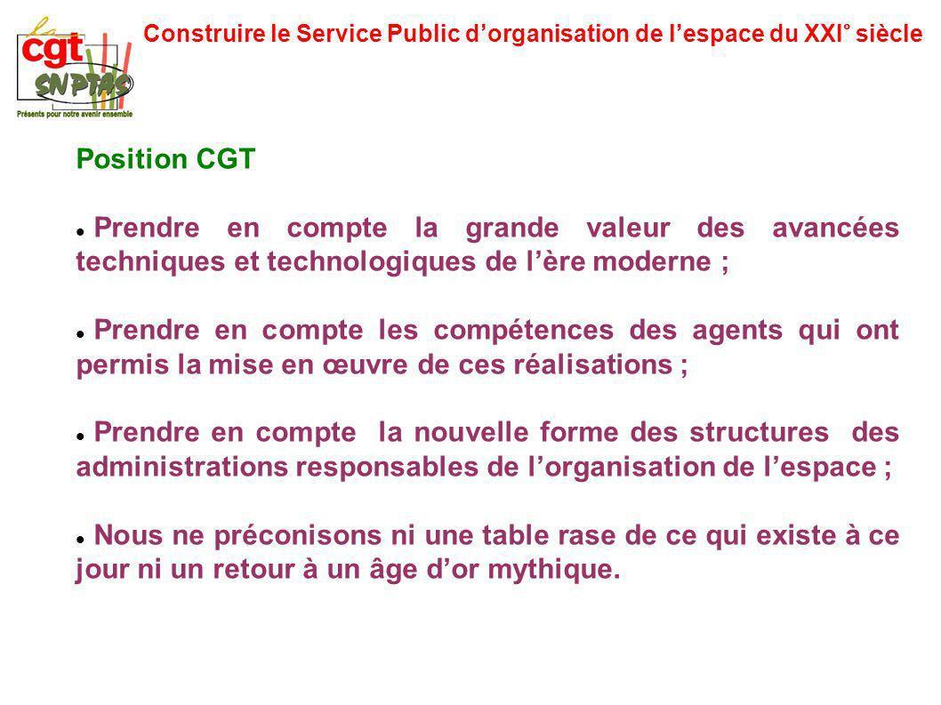 Construire le Service Public dorganisation de lespace du XXI° siècle Position CGT Prendre en compte la grande valeur des avancées techniques et techno