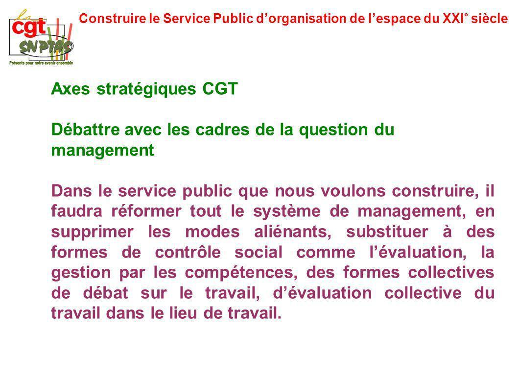 Construire le Service Public dorganisation de lespace du XXI° siècle Axes stratégiques CGT Débattre avec les cadres de la question du management Dans