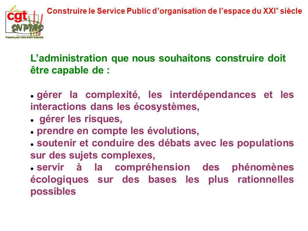 Construire le Service Public dorganisation de lespace du XXI° siècle Ladministration que nous souhaitons construire doit être capable de : gérer la co