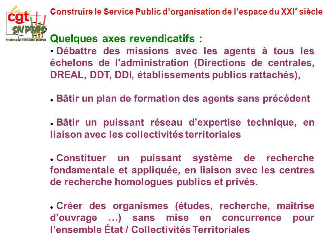 Construire le Service Public dorganisation de lespace du XXI° siècle Quelques axes revendicatifs : Débattre des missions avec les agents à tous les éc