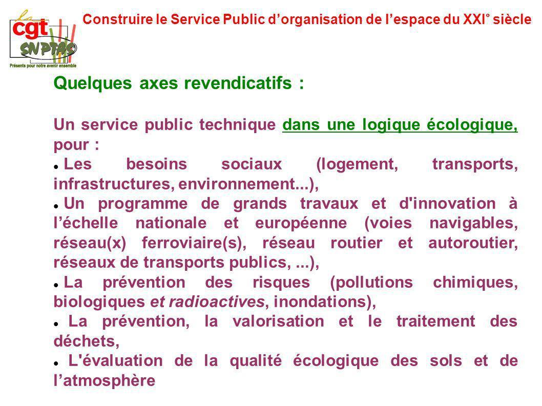 Construire le Service Public dorganisation de lespace du XXI° siècle Quelques axes revendicatifs : Un service public technique dans une logique écolog