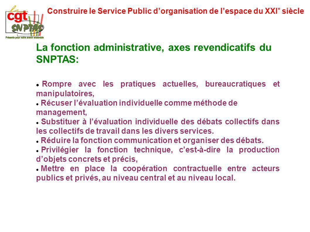 Construire le Service Public dorganisation de lespace du XXI° siècle La fonction administrative, axes revendicatifs du SNPTAS: Rompre avec les pratiqu