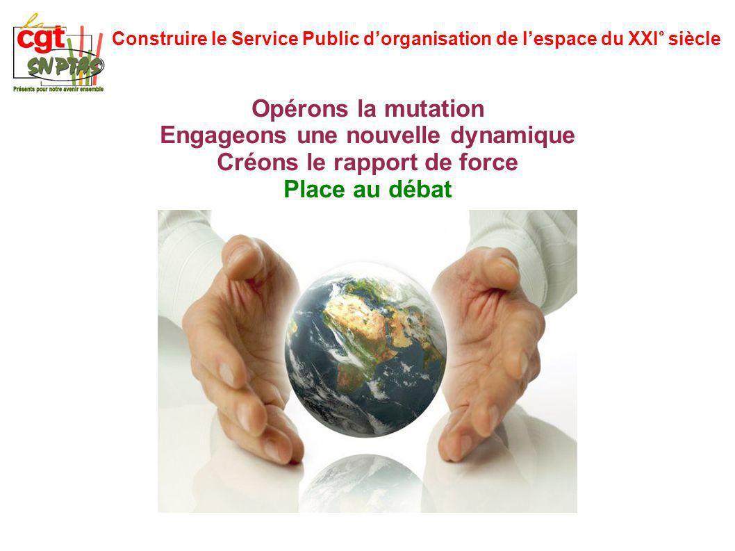 Opérons la mutation Engageons une nouvelle dynamique Créons le rapport de force Place au débat Construire le Service Public dorganisation de lespace d