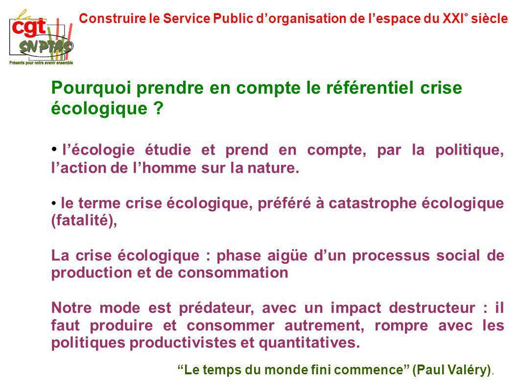 Construire le Service Public dorganisation de lespace du XXI° siècle Pourquoi prendre en compte le référentiel crise écologique ? lécologie étudie et