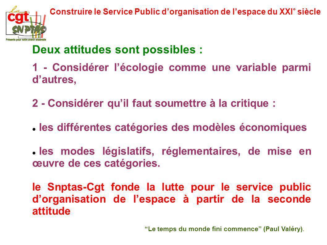 Construire le Service Public dorganisation de lespace du XXI° siècle Deux attitudes sont possibles : 1 - Considérer lécologie comme une variable parmi