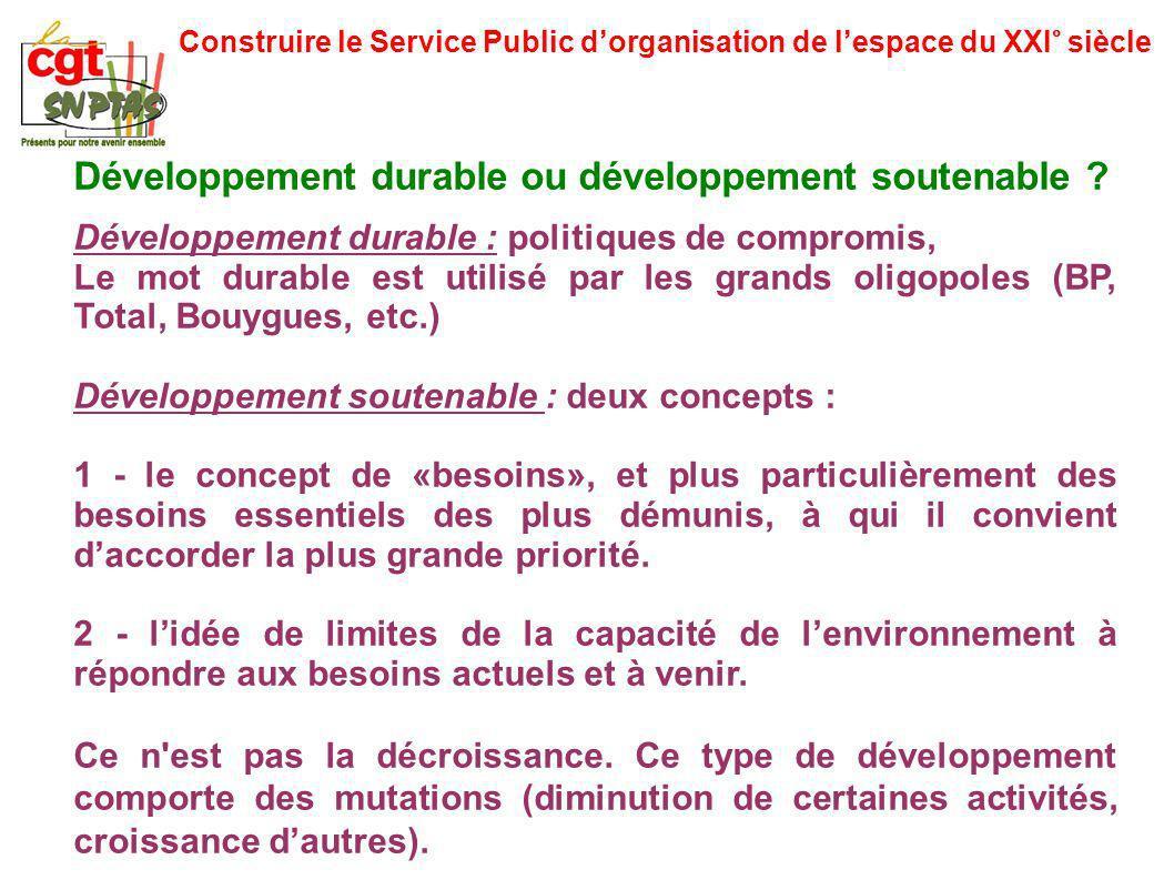 Construire le Service Public dorganisation de lespace du XXI° siècle Développement durable ou développement soutenable ? Développement durable : polit