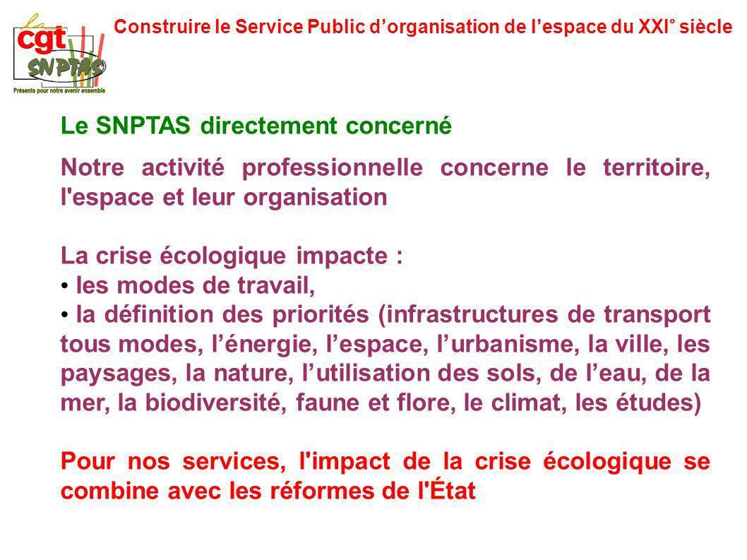 Construire le Service Public dorganisation de lespace du XXI° siècle Le SNPTAS directement concerné Notre activité professionnelle concerne le territo