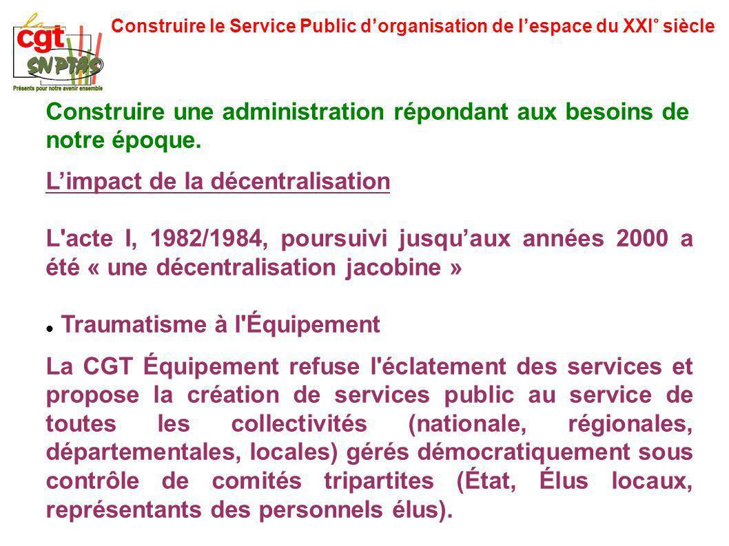 Construire le Service Public dorganisation de lespace du XXI° siècle Construire une administration répondant aux besoins de notre époque. Limpact de l