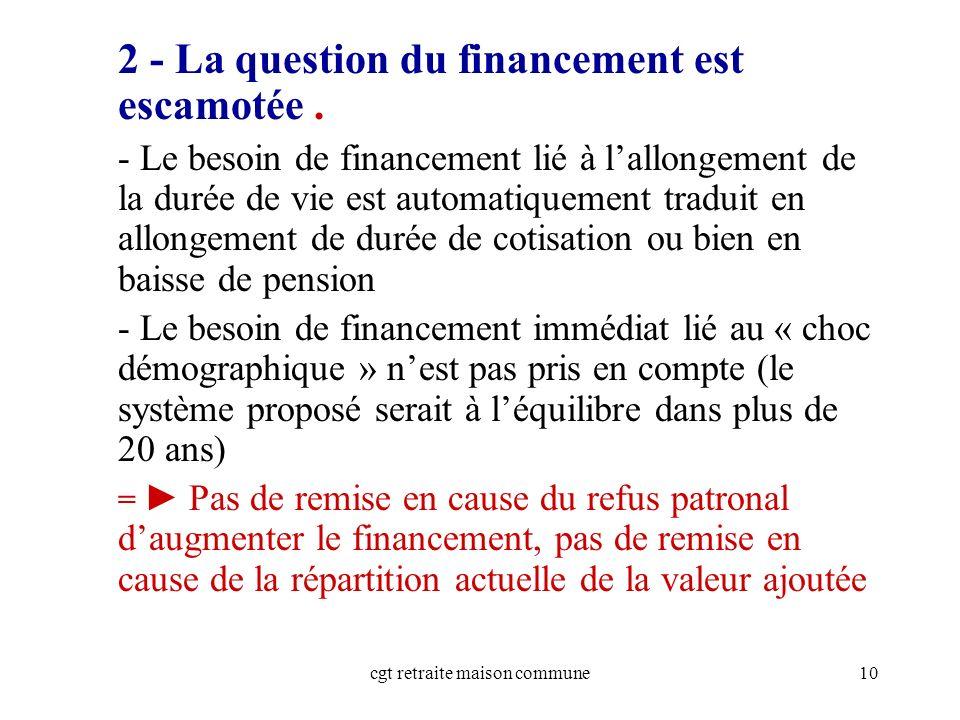 cgt retraite maison commune10 2 - La question du financement est escamotée.