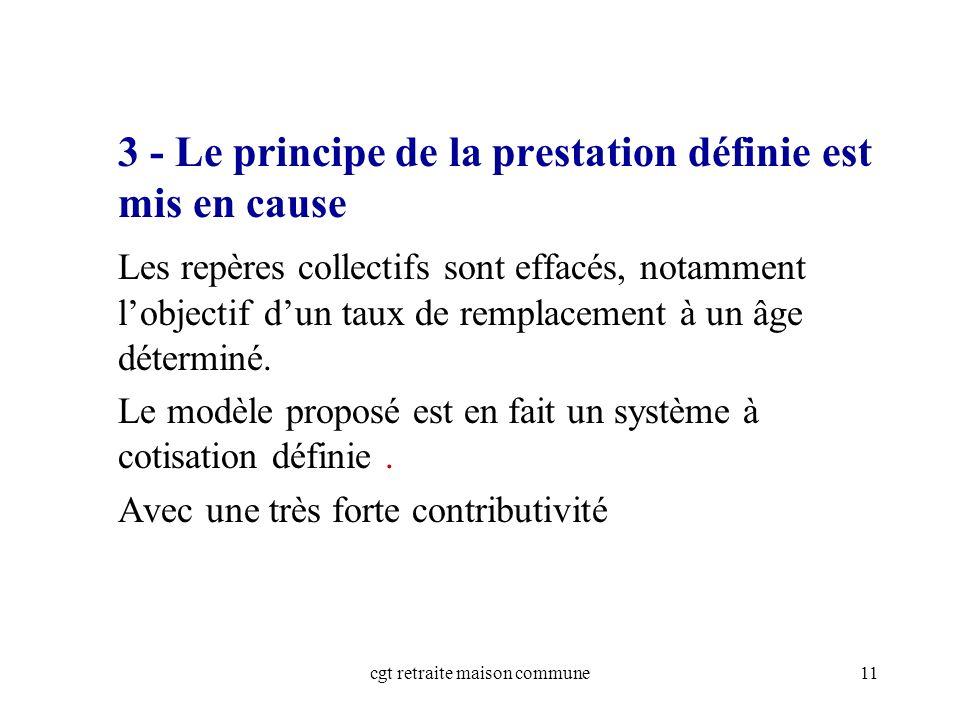 cgt retraite maison commune11 3 - Le principe de la prestation définie est mis en cause Les repères collectifs sont effacés, notamment lobjectif dun taux de remplacement à un âge déterminé.