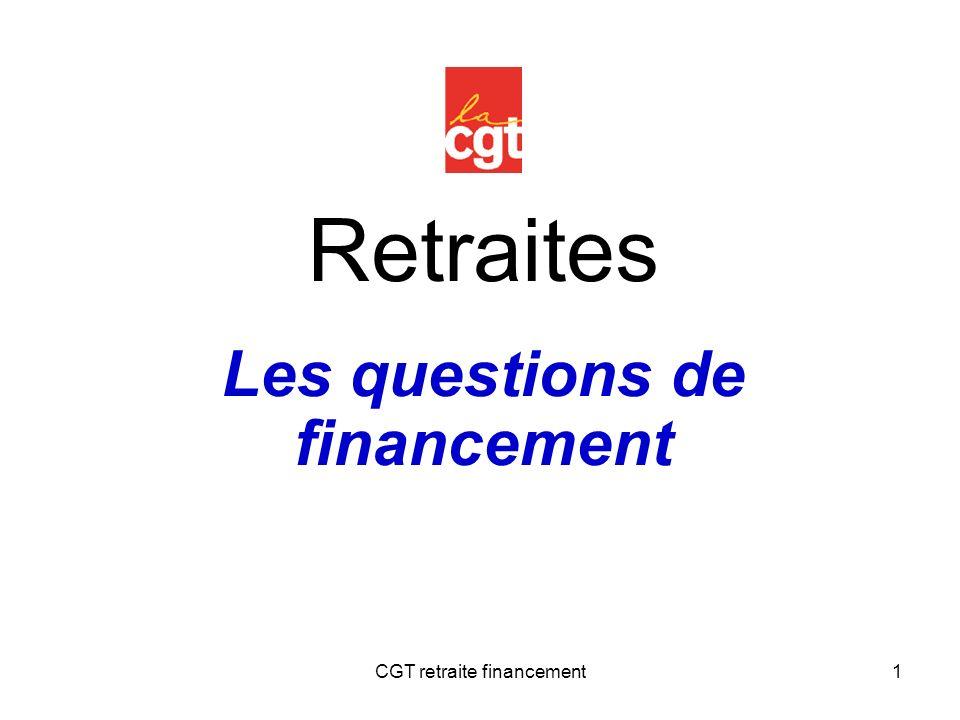 CGT retraite financement1 Retraites Les questions de financement
