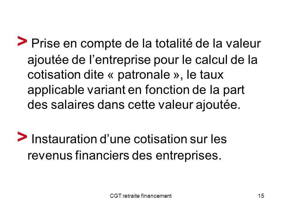 CGT retraite financement15 > Prise en compte de la totalité de la valeur ajoutée de lentreprise pour le calcul de la cotisation dite « patronale », le