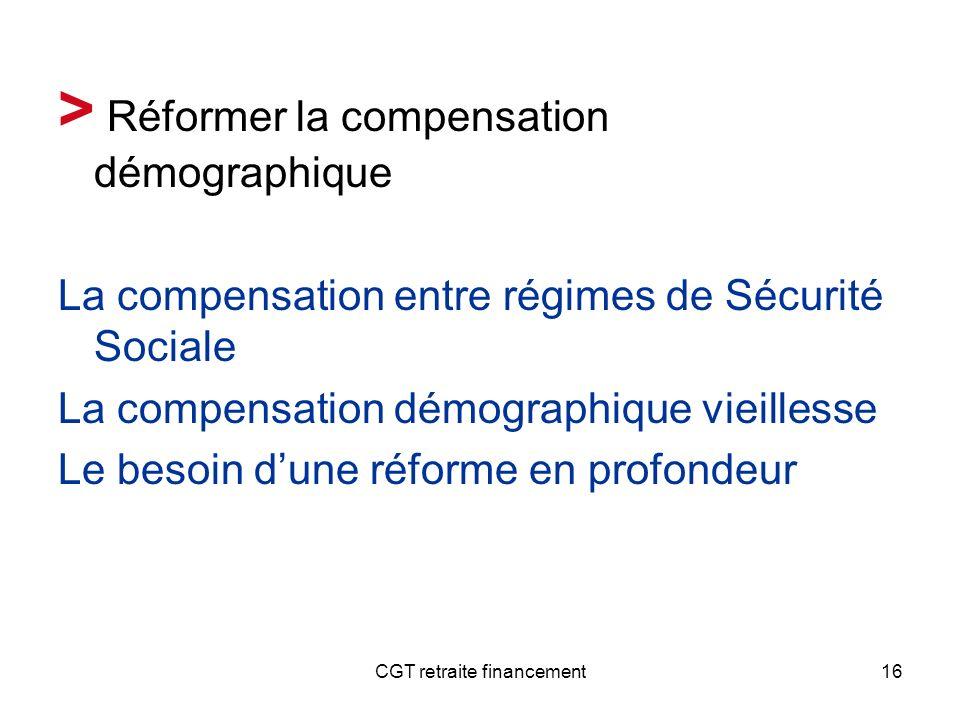 CGT retraite financement16 > Réformer la compensation démographique La compensation entre régimes de Sécurité Sociale La compensation démographique vi