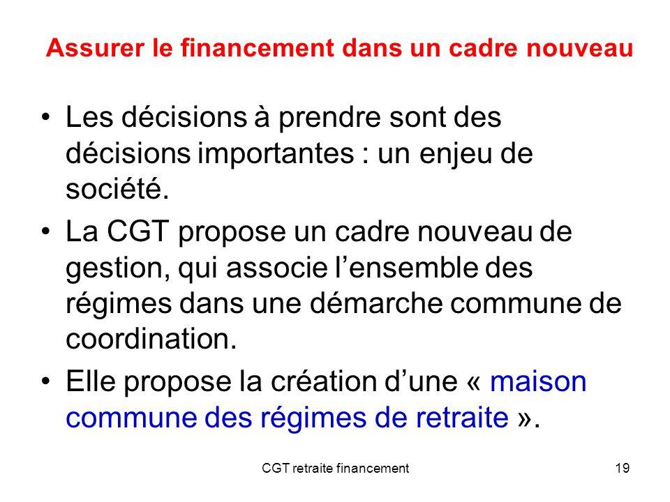 CGT retraite financement19 Les décisions à prendre sont des décisions importantes : un enjeu de société. La CGT propose un cadre nouveau de gestion, q