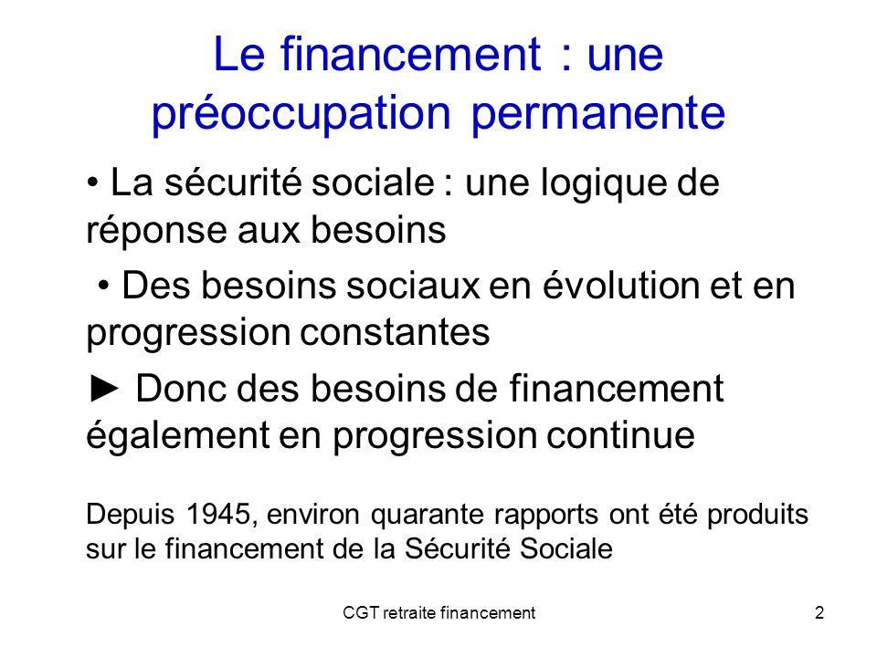 CGT retraite financement3 Le gros bobard de la capitalisation : « Ne pas laisser de dette aux générations futures » Ce sont toujours les actifs du moment qui produisent les richesses permettant de payer les retraites du moment.