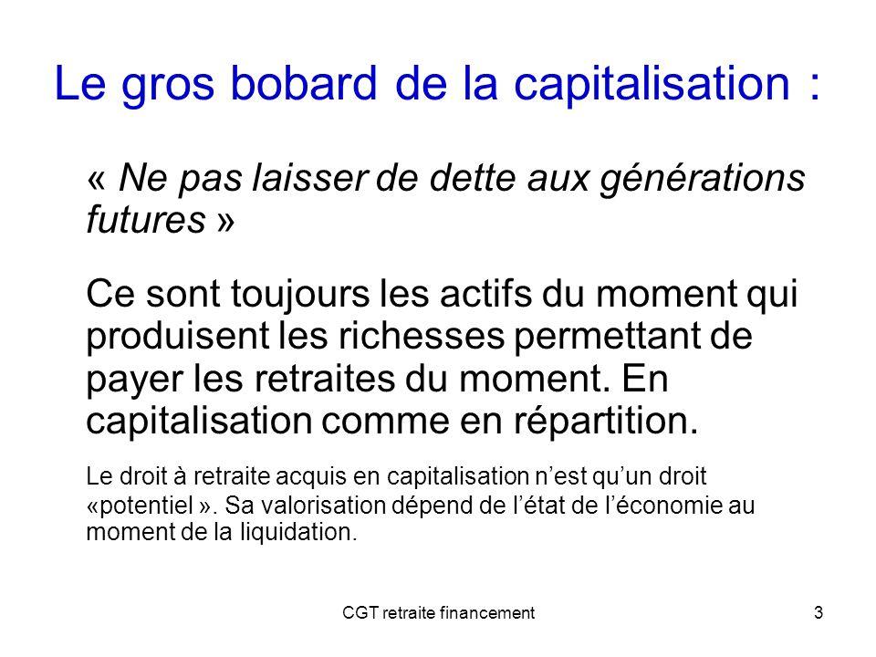 CGT retraite financement3 Le gros bobard de la capitalisation : « Ne pas laisser de dette aux générations futures » Ce sont toujours les actifs du mom
