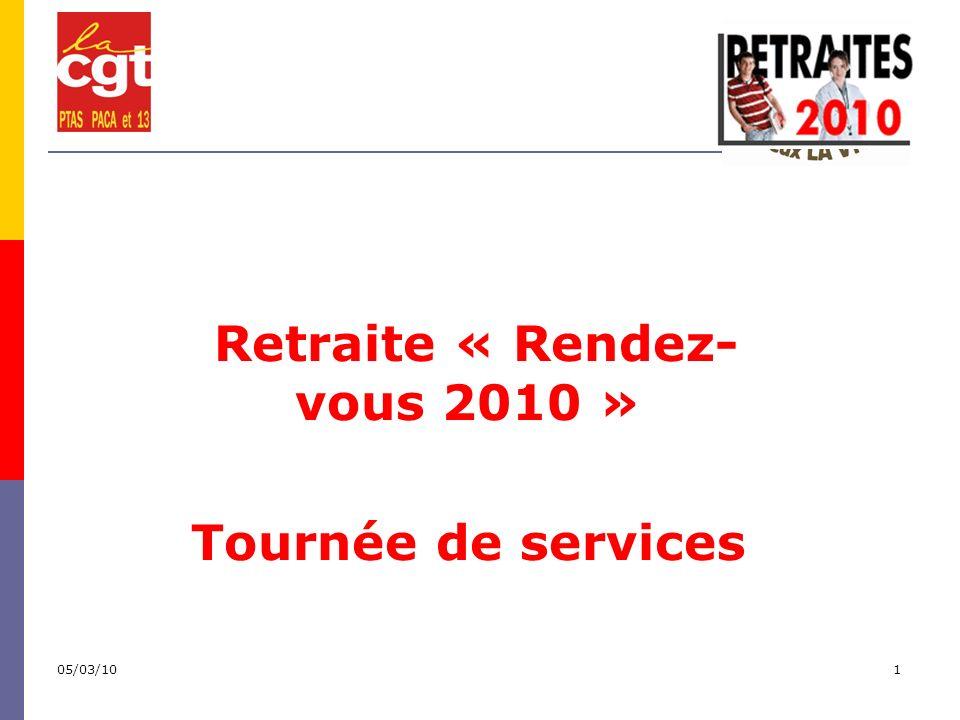 05/03/101 Retraite « Rendez- vous 2010 » Tournée de services