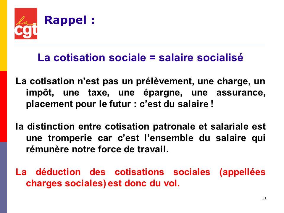11 La cotisation sociale = salaire socialisé La cotisation nest pas un prélèvement, une charge, un impôt, une taxe, une épargne, une assurance, placement pour le futur : cest du salaire .