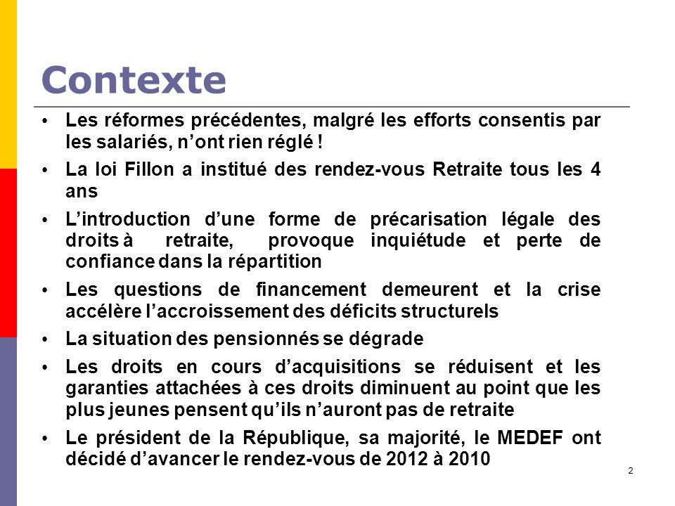 2 Contexte Les réformes précédentes, malgré les efforts consentis par les salariés, nont rien réglé .