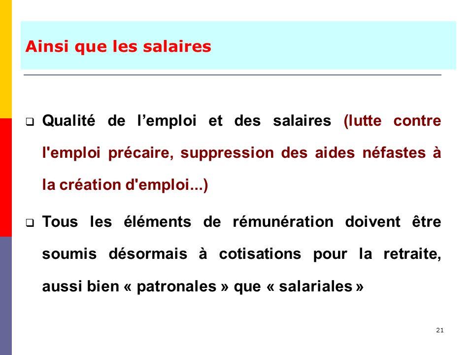 21 Qualité de lemploi et des salaires (lutte contre l'emploi précaire, suppression des aides néfastes à la création d'emploi...) Tous les éléments de